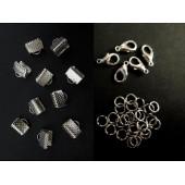 10 silber Bandklemmen 8mm + 5 Karabiner + 20 Biegeringe als Schmuckzubehör Set für Halsbänder - Schmuckzubehör Set