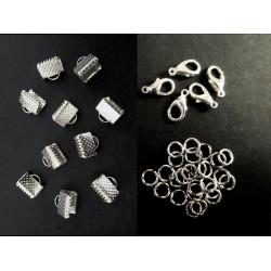 10 hellsilber Bandklemmen 8mm + 5 Karabiner + 20 Biegeringe als Schmuckzubehör Set für Halsbänder - Schmuckzubehör Set