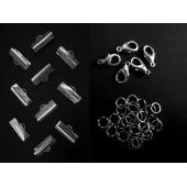 10 silber Bandklemmen 16mm + 5 Karabiner + 20 Biegeringe als Schmuckzubehör Set für Halsbänder - Schmuckzubehör Set
