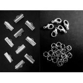10 hellsilber Bandklemmen 16mm + 5 Karabiner + 20 Biegeringe als Schmuckzubehör Set für Halsbänder - Schmuckzubehör Set