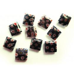 10x Schwarze Millefiori Perlen quadratisch 10 x 10 mm