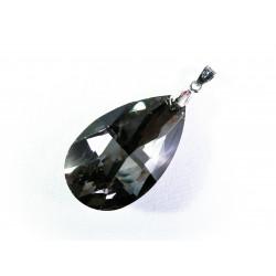1x Glasanhänger Tropfenform black diamond ca. 52x22mm - Glas Schmuckzubehör