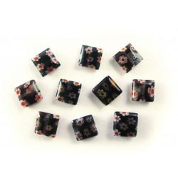 10x Schwarze Millefiori Perlen quadratisch 8 x 8 mm