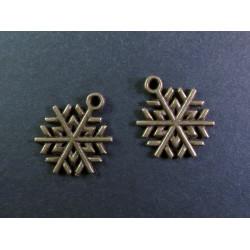 2x bronze Schneeflocke 1 ca. 20x18mm bronze Schmuckanhänger - Schmuckzubehör Weihnachten