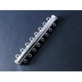 1x 45mm Magnetverschluss 8 Ösen hellsilber platinfarben - Schmuckzubehör Magnetverschluss