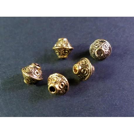 5x gold Metallperlen 7x6mm gold Rhombe goldfarbener Spacer - Schmuckzubehör Metallperlen