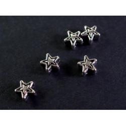 5x Stern silberfarben 4mm Metallperlen Spacer - Schmuckzubehör Metallperle