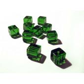 10x Grüne Kristallglas Würfel Perlen 10 x 10 mm