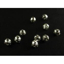 10x filigrane Metallperlen 4mm silberfarben Kugel Spacer - Schmuckzubehör Metallperle