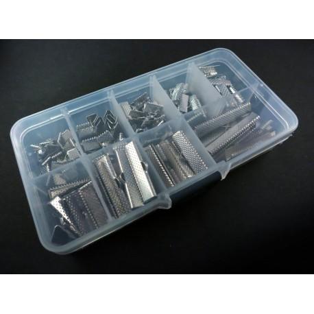 100 silber Bandklemmen 6-35mm in verschiedenen Größen Sortiment in Box - Schmuckzubehör Set