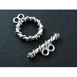 1x doppel Knebelverschluss Ring 18x15mm silberfarben Toggle - Schmuckzubehör Schmuckverschluss