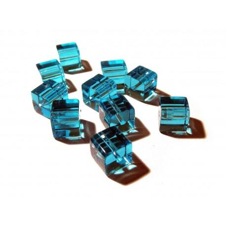 10x Türkis Kristallglas Würfel Perlen 10 x 10 mm