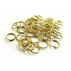 50x vergoldeter Biegering 4mm 0,7mm Stärke runder goldfarbener Binderinge - Schmuckzubehör Biegering
