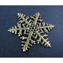 1x große bronze Schneeflocke 45mm Aufnäher Streudeko filigranes Ornament - Bastelbedarf Werihnachten