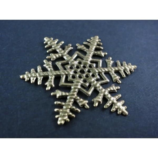 1x große bronze Schneeflocke 45mm Aufnäher Streudeko filigranes ...