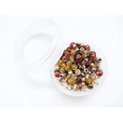 15g Mix aus braunen und gold Rocailles im Döschen - Schmuckzubehör Rocailles