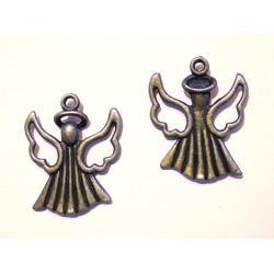 2x bronze Weihnachtsengel Anhänger ca. 26x21x4mm bronzefarbener Schmuckanhänger - bronze Schmuckzubehör