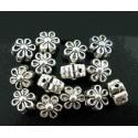 5x silberfarben Blume Metallperlen 7x5mm silberfarbener Spacer - Schmuckzubehör Metallperle