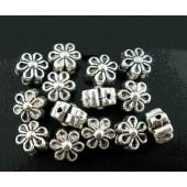5x silber Blume Metallperlen 7x5mm silberfarbener Spacer - Schmuckzubehör Metallperle