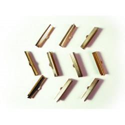 10x Bandklemme 25mm II. Wahl goldfarben vergoldet - Schmuckzubehör