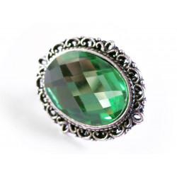 1x grüne faccettierte Glas Schiebeperle 26x21mm silber emeraldfarbene Großlochperle oval - Schmuckzubehör Schiebeperle