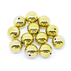 1x große goldfarbene Acryl Perle 20mm glatt - Schmuckzubehör