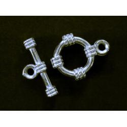 5x Acryl Knebelverschluss Ring 15mm silberfarben Toggle - Schmuckzubehör Schmuckverschluss