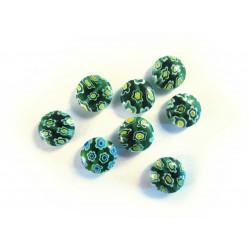 8x Grüne Millefiori Perlen rund Durchmesser 10 mm