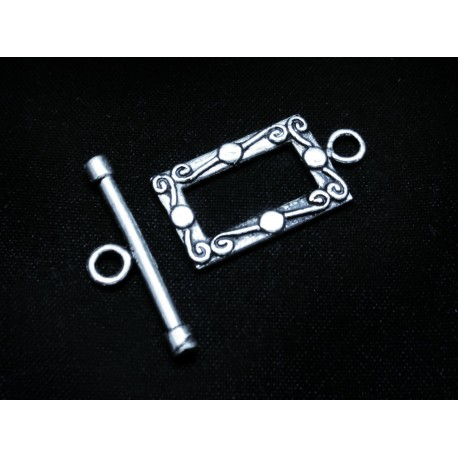 1x Rechteck Knebelverschluss silberfarben Ringteil 23x12mm Toggle - Schmuckubehör Schmuckverschluss
