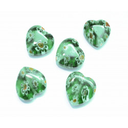 5 Stück grüne Herz Millefioriperlen ca. 12x11mm grüne Millefioriherzen - Schmuckzubehör Millefiori