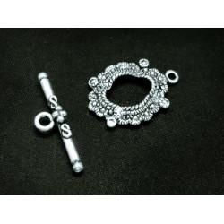 1x filigraner ovaler Knebelverschluss silberfarben Ringteil 25x17mm Toggle - Schmuckubehör Schmuckverschluss