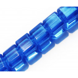 8x Dunkelblaue Kristallglas Würfel 6x6mm Perlen mit geschliffener Kante - Glasschmuck Schmuckzubehör