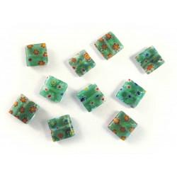 10x Grüne Millefiori Perlen quadratisch 10 x 10 mm