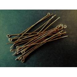 20 lange bronze Kettelstifte 50mm bronzefarben Schmuckdraht mit Öse - bronze Schmuckzubehör
