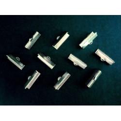 10x hellsilber Bandklemme 22mm platinfarben - Schmuckzubehör