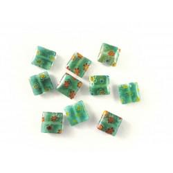 10x Grüne Millefiori Perlen quadratisch 8 x 8 mm