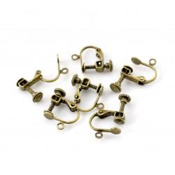 2 Stück / 1 Paar bronze Ohrclips ca. 17x14mm zum Clippen und Drehen bronzefarben - Schmuckzubehör zum Ohrclips selbermachen