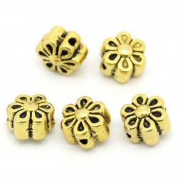 5x gold Blume Metallperlen 7x7x5mm goldfarbener Spacer - gold Schmuckzubehör Metallperle