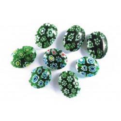 8x Grüne Millefiori Perlen oval Mix Durchmesser 10 bis 14 mm