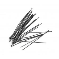 20 lange metallschwarze Nietstifte 60mm gunmetal Schmuckdraht mit Kopf - gunmetal Schmuckzubehör