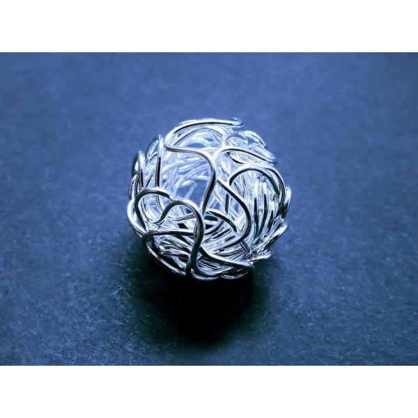 Draht Metallperle 20mm hellsilber Spacer - Schmuckzubehör Metallperle