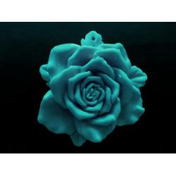 1x große mintfarbene Rose Anhänger ca. 48x15mm mintfarbener Schmuckanhänger - Schmuckzubehör