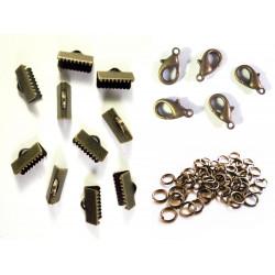 10 bronze Bandklemmen 16mm + 5 Karabiner + 20 Biegeringe als Schmuckzubehör Set für Halsbänder - bronze Schmuckzubehör Set