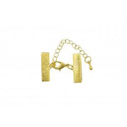 1x 20mm Bandklemme gold Verschluss mit Karabiner und Kette goldfarben - gold Schmuckzubehör