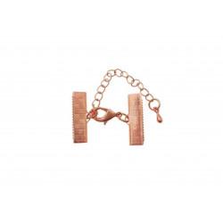 1x 20mm rosegold Bandklemmen Verschluss mit Karabiner und Kette rosegold - rosegold Schmuckzubehör