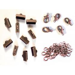 10 kupfer Bandklemmen 13mm + 5 Karabiner + 20 Biegeringe als Schmuckzubehör Set für Halsbänder - kupfer Schmuckzubehör Set