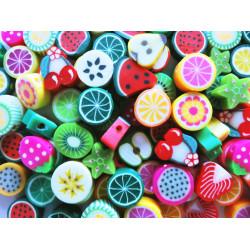 20 bunte Obst Perlen 10mm aus Polymer Clay im bunten Mix - Polymer Clay Schmuckzubehör