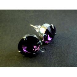 2 Stück / 1 Paar amethyst Strass Ohrstecker mit Öse Strassstein Durchmesser ca. 8mm - Schmuckzubehör zum Ohrringe selbermachen