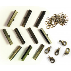 10 bronze Bandklemmen 30mm + 5 Karabiner + 10 Biegeringe als Schmuckzubehör Set für Halsbänder - bronze Schmuckzubehör Set