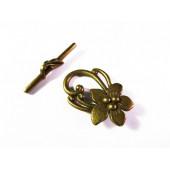 1x bronze Knebelverschluss Lilie Jugendstil Blume bronzefarben 30x20mm Toggle - bronze Schmuckzubehör